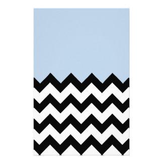 Blue-Sky-On-Black-&-White-Zigzag-Pattern Personalized Stationery
