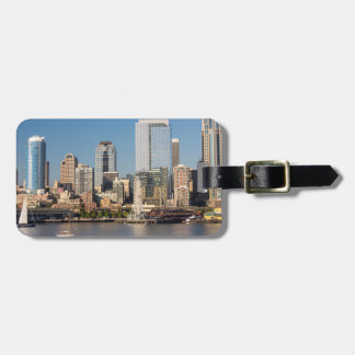 Blue sky over the Elliott Bay waterfront Bag Tag