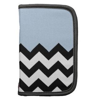 Blue Sky Pattern On Black & White Large Zigzag Planner