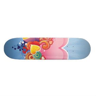 Blue Sky Pink Heart Skateboard Deck