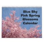 Blue Sky Pink Spring Calendar Nature Trees Flowers