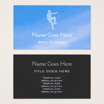 "Professional Business ""Blue Sky"" Rock Climbing Business Cards"