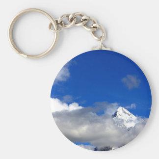 Blue Sky Snowy Mountain Keychain