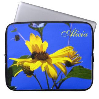 Blue Sky, Sunflowers N Bees Laptop Sleeve