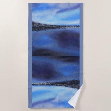 Beach Themed Blue Sky Sunset Abstract Beach Towel