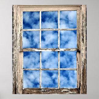 Blue Sky Through Window Poster