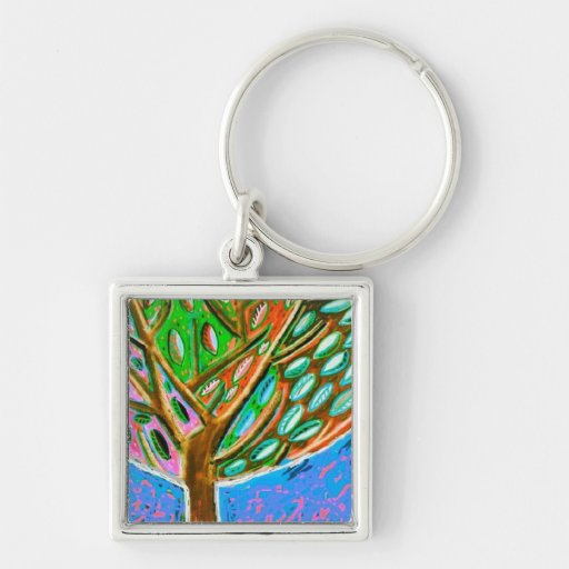 Blue Sky Tree of Life Keychain