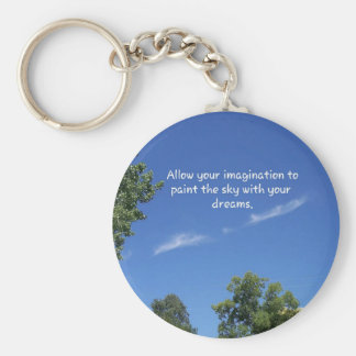 Blue Sky Tree Tops Inspirational Quote Keychain