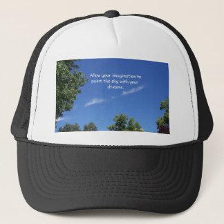Blue Sky Tree Tops Inspirational Quote Trucker Hat