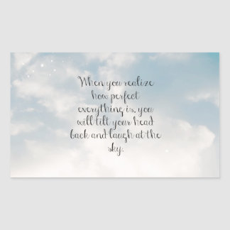 """Blue Sky """"When You Realize"""" Inspirational Quote Rectangle Stickers"""