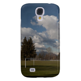 blue sky,  white clouds and trees samsung galaxy s4 cover