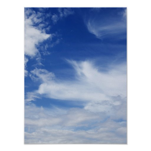 Blue Sky White Clouds Background - Customized Posters