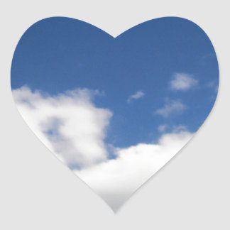 Blue Sky & White Clouds Heart Sticker