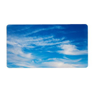 Blue Sky White Clouds Heavenly Cloud Background Label