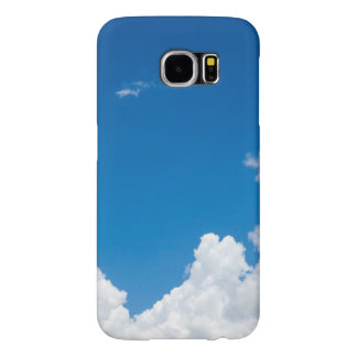 Blue Sky White Clouds Heavenly Skies Background Samsung Galaxy S6 Cases