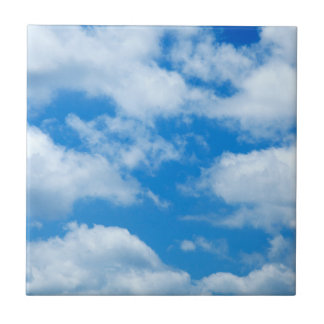 Blue Sky White Clouds Heavenly Skies Background Ceramic Tile