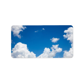 Blue Sky White Clouds Heavenly Skies Background Label