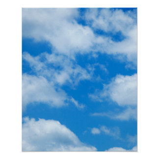 Blue Sky White Clouds Heavenly Skies Background Poster