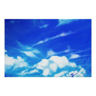 Blue Sky White Clouds Poster