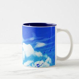 Blue Sky White Clouds Two-Tone Coffee Mug