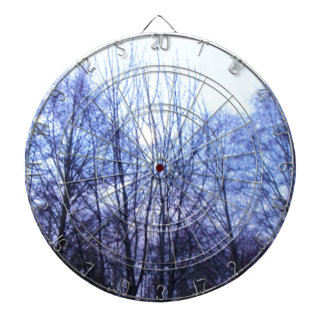 Blue Sky White Moon Black Trees Warm Colors Dart Board