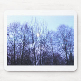 Blue Sky White Moon Black Trees Warm Colors Mouse Pad
