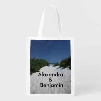 Blue Sky ~ White Sand Tote Bag Reusable Grocery Bags