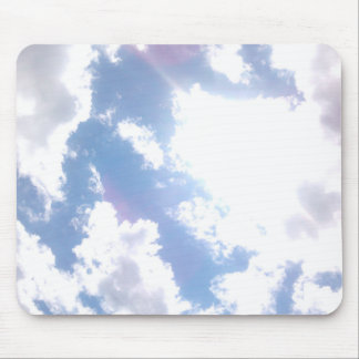 Blue Sky with Bright White Couds Mouse Pad