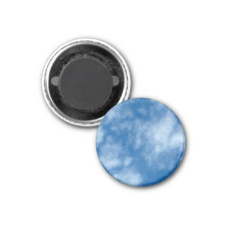 Blue Sky with Clouds 1 Inch Round Magnet