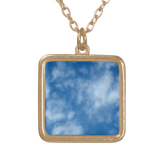 Blue Sky with Clouds Gold Plated Necklace