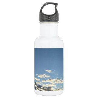 Blue sky with clouds in evening 18oz water bottle