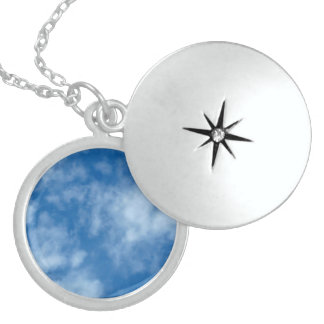 Blue Sky with Clouds Round Locket Necklace
