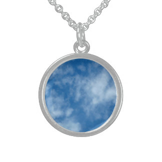 Blue Sky with Clouds Round Pendant Necklace