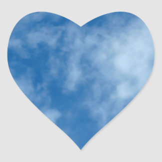 Blue Sky with Clouds Photo Heart Sticker