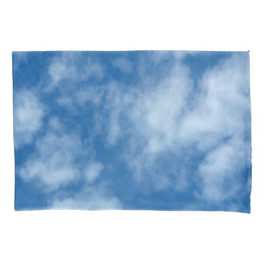 blue sky with clouds photo pillowcase zazzle com