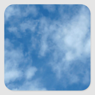 Blue Sky with Clouds Photo Square Sticker