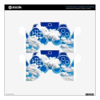 Blue sky with many white clouds decal for PS3 controller