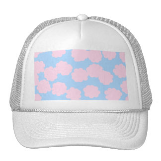 Blue Sky with Pink Clouds Pattern. Mesh Hat