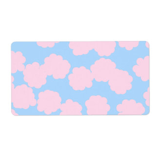 Blue Sky with Pink Clouds Pattern. Label