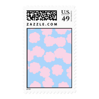 Blue Sky with Pink Clouds Pattern. Postage Stamp