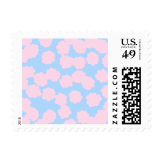 Blue Sky with Pink Clouds Pattern. Postage Stamps