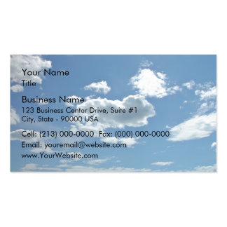 Blue sky with scattered clouds business card