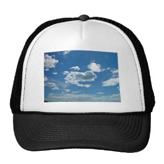 Blue sky with scattered clouds trucker hat