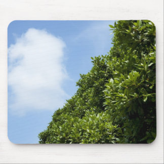 Blue sky with white cloud and green foliage mouse pad