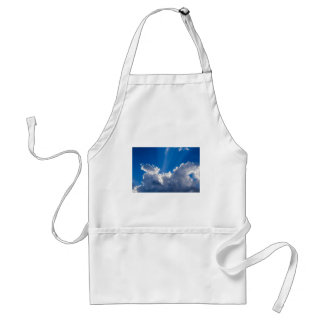 Blue sky with white clouds and ray of sunshine. adult apron