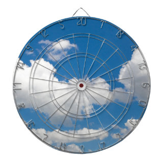 Blue sky with white clouds dart boards