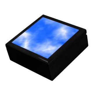 Blue sky with white clouds. gift boxes