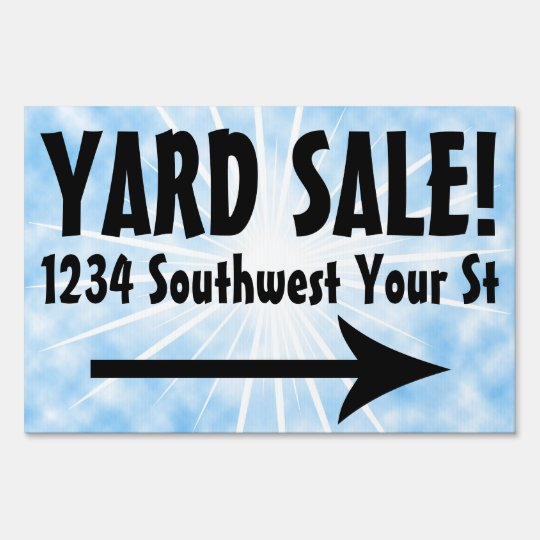 Blue Sky Yard Sale Customizable Sign