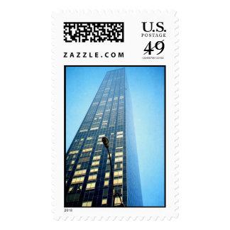 blue skyscraper postage stamps