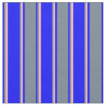 [ Thumbnail: Blue, Slate Gray & Light Pink Stripes Fabric ]